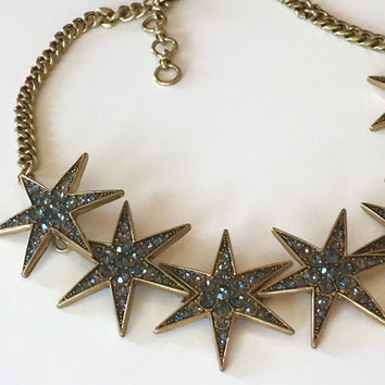 Disco Nights Star Choker | Gemstone Sparkly Star Necklace | antique bronze 70s style statement necklace | party vegas formal retro stars mod