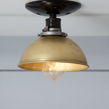 Brass Metal Shade Light - Semi Flush Mount Ceiling Lamp