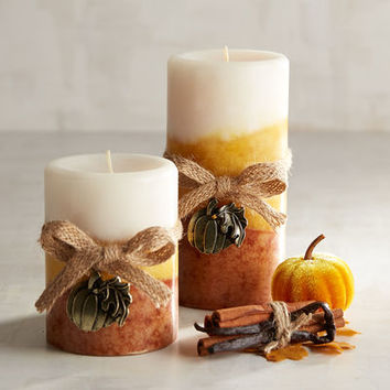 Pumpkin Spice Layered Pillar Candles