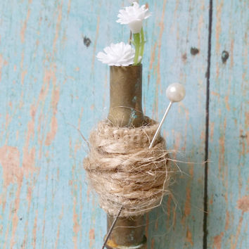 Bullet Boutonniere / Floral Boutonniere / Country Chic Wedding / Rustic Boutonniere / Hunting Wedding / Baby's Breath Wedding