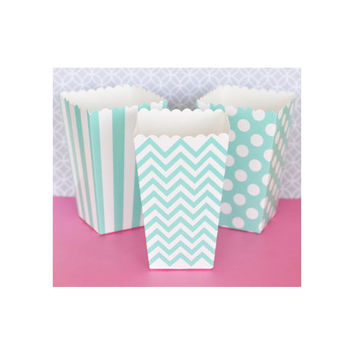 Popcorn Boxes - Aqua Blue Chevron Polka Dot or Stripe for Candy Bar - Wedding Favors Party Favor