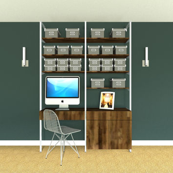 """65"""" Wide Two Bay Pull Out Keyboard Desk with 2-Door with Drawer Cabinet and Upper Shelves"""