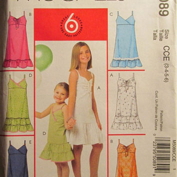 Sale Uncut McCall's Sewing Pattern, 5089! 3-4-5-6 Toddler/Girls/Sleeveless Strap Dress/Knee Length/Thigh Length/Ruffle Tiered Dress/Summer/S
