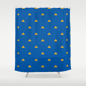 Blue and Mustard Triangles Shower Curtain by Kat Mun