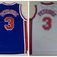 Discount 3 Drazen Petrovic Jerseys Unfiorms Rev 30 New Material Throwback Drazen Petrovic Shirt Home Alternate Blue White Best Quality