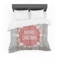 """Suzanne Carter """"Merry Christmas Pink"""" Pink Holiday Typography Featherweight Duvet Cover"""