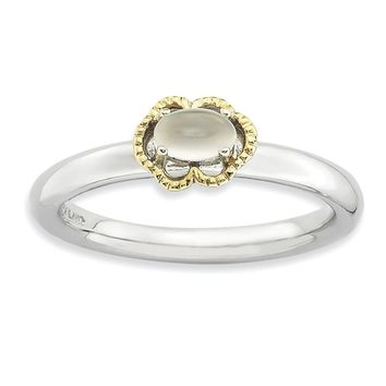 Sterling Silver & 14k Gold Stackable Expressions Moonstone Polished Ring