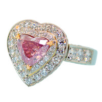 Rare Fancy Intense Pink Diamond Ring