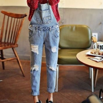 New Fashion Plus Size Korean Women Jumpsuit Denim Jumpsuits Overalls Casual Skinny Girls Pants Jeans Rompers Playsuit