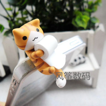 Sweet  Cat Orange Cat Catch the Rolled Paper Cute Puppy 3.5mm universal dust Plug Earphone Jack Plug Headset Stopper Cap