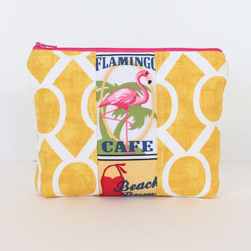 Padded Pouch Zipper Cosmetic Case Makeup Bag with Yellow Fabric and Flamingo Center Accent