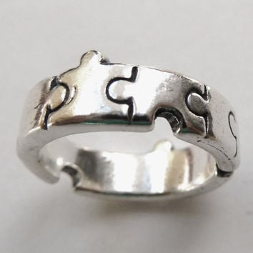 Sterling Silver Jigsaw Puzzle Ring by MorganFischerJewelry on Etsy