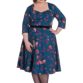Magical Woodland Floral & Owl Bird Print Teal Blue Belted Swing Dress