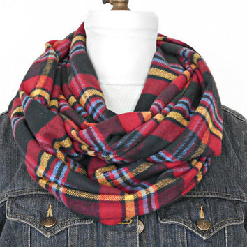 Plaid Infinity Scarf Flannel Tartan Red Blue Black Yellow - Circle Scarf - Fall Scarf - Gift for Her - Christmas Gift