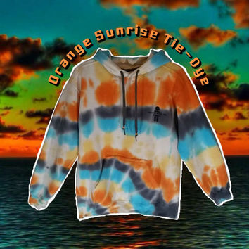 Orange Sunrise Sweatshirt Tie Dye Hoodie Womens Mens Gym Clothing Snowboard Skateboard Tumblr Adidas Gift For Him Rainbow Warm Cozy Soft