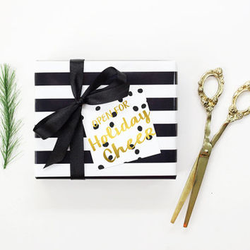Personalized Christmas Gift Tags Cute Holiday Tags Faux Gold Foil Christmas Favor Tags Custom Black and White Polka Dot Paper Gift Tags
