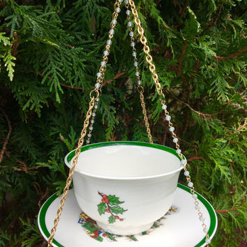 Christmas Tea Cup Bird Feeder, Mini Hanging Planter, Garden Whimsy, Recycled Dish Art, Candle Holder, Kitchen Decor, Yard Accent, Gift Idea