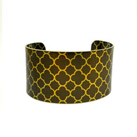 Quatrefoil Brass Cuff Bracelet, Patterned Bracelet, Modern Art Jewellery, Wearable Art, Arts and Crafts Jewellery