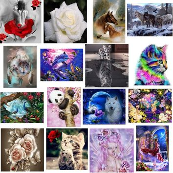Cat's Whisper 5D DIY Diamond Painting Cross Stitch Round Rhinestone Drill Embroider Wall Home Decor