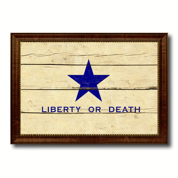Liberty or Death Flag Goliad Texas Battle Independence Military Flag Vintage Canvas Print with Brown Picture Frame Gifts Ideas Home Decor Wall Art Decoration