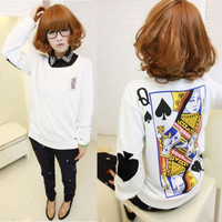 Womens Girls Loose Poker Print Harajuku Sweatshirt Casual Long Sleeve Blouse Tops Shirt S/M/L/XL