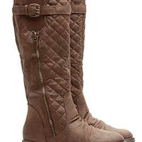 Young and Reckless Quilted Taupe Rider Boots