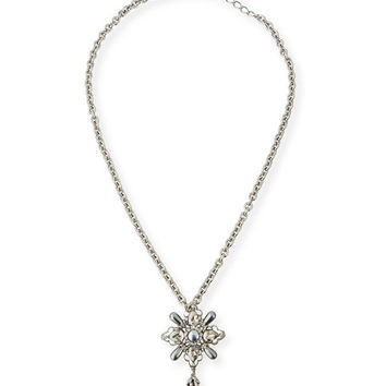 Oscar de la Renta Pearly Crystal Dangling Pin