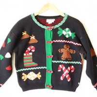 Shop Now! Ugly Sweaters: Hard Candy & Gingerbread Man Vintage 80s Ugly Christmas Sweater Women's Size Medium/Large (M/L) $22 - The Ugly Sweater Shop