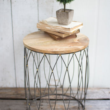 Iron Side Table with Mango Wood Top 2