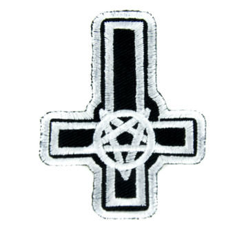 Inverted Pentagram Cross Patch Iron on Applique Occult Clothing