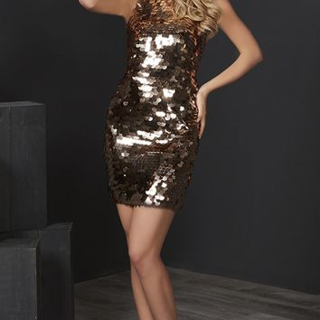 Tiffany Homecoming - 27195 Sequined High Halter Fitted Cocktail Dress