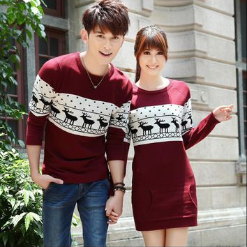 Top Quality christmas sweater for men and women couples matching christmas sweaters for lovers couple Christmas Deer sweaters