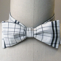White & Black plaid bow tie upcycled silk by SimonesRoseBoutique