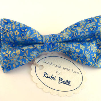 Bow Tie - blue floral bow tie - wedding bow tie - blue bow tie with golden flower pattern - man bow tie - men bow tie - gifts for him