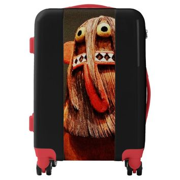 Red orange cute, funny face photo luggage suitcase