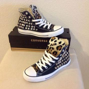 CREYUG7 Custom studded black Converse Chuck Taylors with faux leopard fur size 8 women