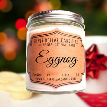 Egg Nog 8oz Scented Soy Candle, Christmas Gifts, Funny Christmas Gift, Secret Santa, Stocking Stuffers, Christmas Candle, Christmas Decor