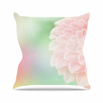 "Robin Dickinson ""Sweet Pink"" Green Floral Throw Pillow"