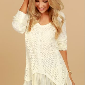 Layered Draping Sweater Ivory