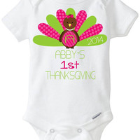 My First 1st Thanksgiving Baby Girl Onesuit Shirt - Personalized with child's name - 2014 - Pink & Green Polka Dot Turkey Preemie Size Avail