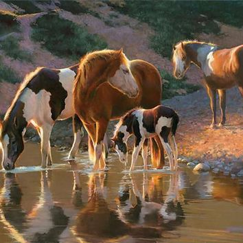 5D Diamond Painting Horses at the Watering Hole Kit