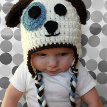 Brown, Blue and White Puppy Dog Child, Newborn, Baby Earflap Hat