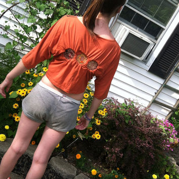 Orange tribal print Dreamcatcher shirt by Handspunhomegoods