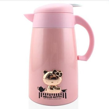 Hello Kitty Stainless Steel+Glass Refill 1000ML Thermos Cup Travel Hiking Thermo Mug