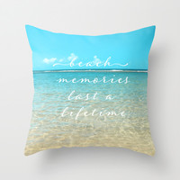 Beach memories last a life time Throw Pillow by Sylvia Cook Photography