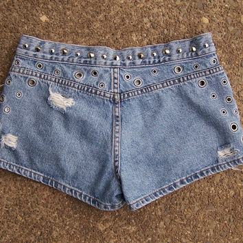 "Levis grommet studded booty shorts low rise 30"" waist / destroyed / cone studs / eco clothing upcycled / size 5"
