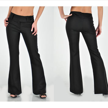 Flared solid pants with side front button closure (Small - Med)