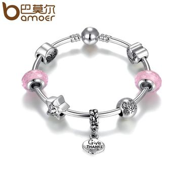 Silver Color Thanksgiving Gift Family Together Pink Charm Bracelets & Bangles Jewelry Making Gift PA3820
