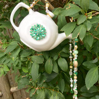 Tea Pot Garden Totem, Recycled Yard Art, Green White Bead Sun Catcher, Hanging Garden Art, Repurposed, Upcycled