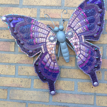Wall art Outdoor decoration Purple Lilac glassmosaic butterfly metal